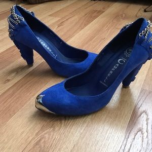 Jeffrey Campbell Lane Chain Cobalt blue pumps